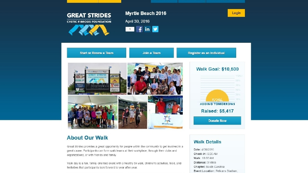 Cystic Fibrosis Walks Happening Saturday In Myrtle Beach