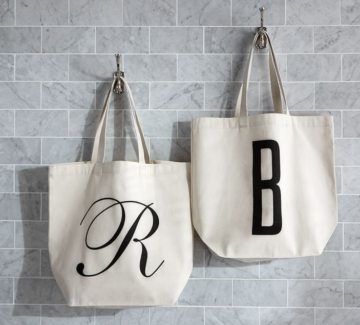 Personalized Alphabet Grocery Tote Bag from Pottery Barn (Special $13). Find on potterybarn.com. (Image: Pottery Barn)