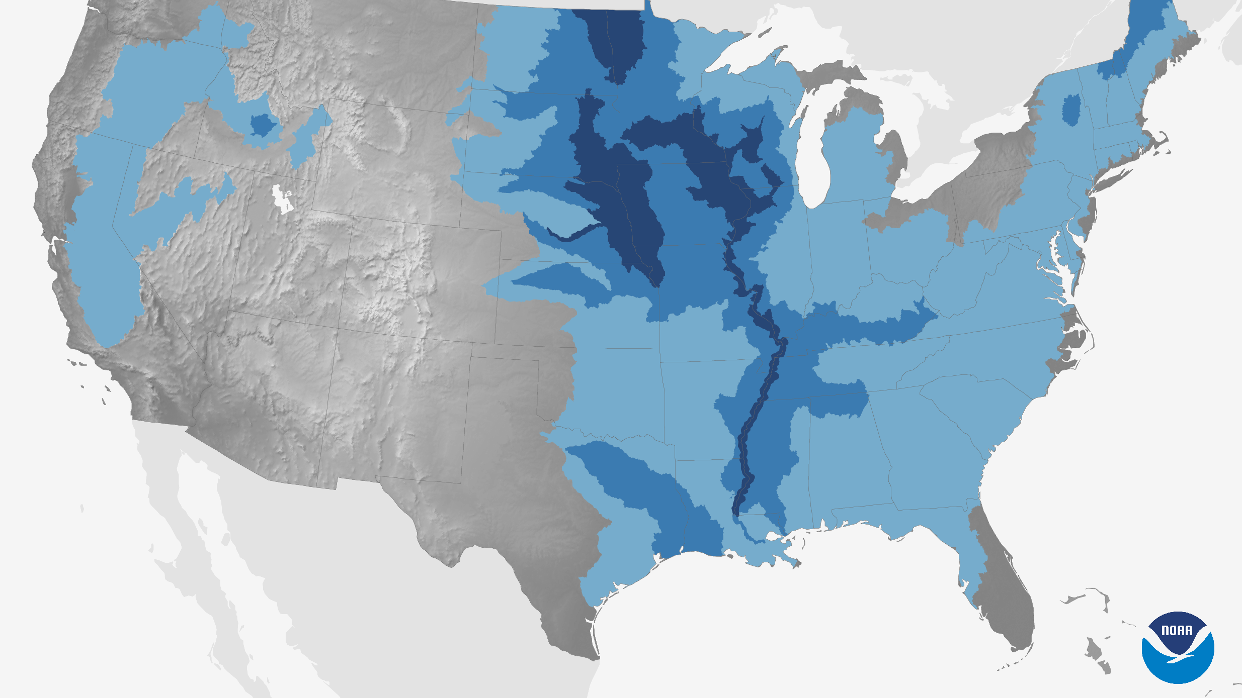 2019 U.S. Spring Flood Outlook: Shades of dark blue indicate high risk of major spring flooding.<br><p>Courtesy: NOAA, Climate.gov</p><p></p>