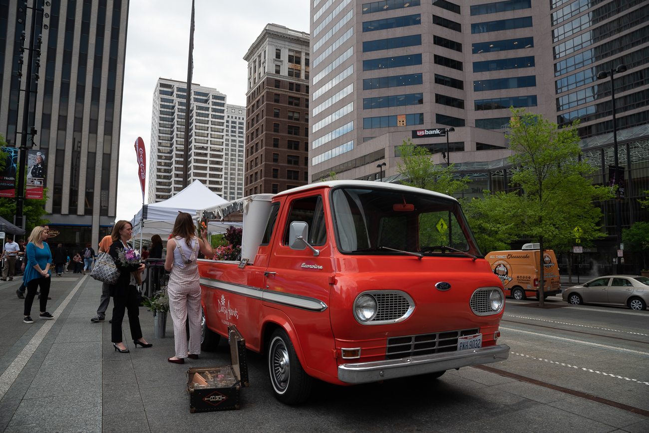Fountain Square is among the many locations Daisy Jane's Flower Truck visits each week. / Image: Phil Armstrong, Cincinnati Refined // Published: 5.5.19