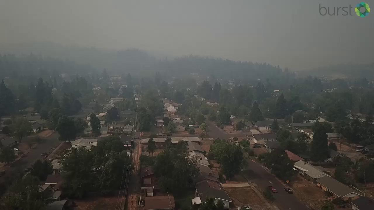 Randal Larson shared video of smoke over Eugene/Springfield on August 28 via BURST.com/KVAL (Video by Snowbird Drone/snowbirddrone.com)