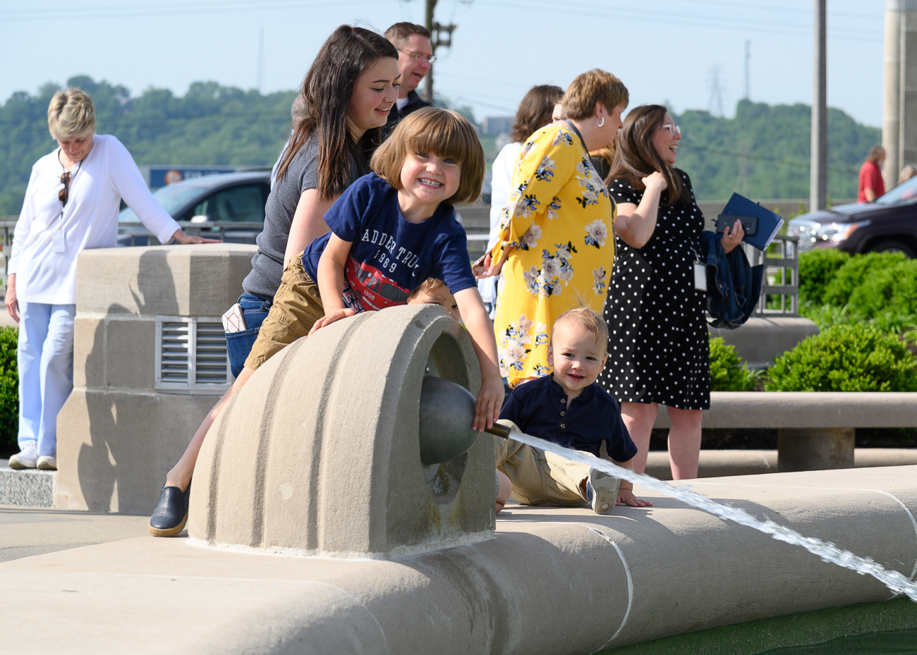 People of all ages rejoice as Union Terminal's fountain turned on for the first time since renovations completed. / Image: Phil Armstrong<p></p>