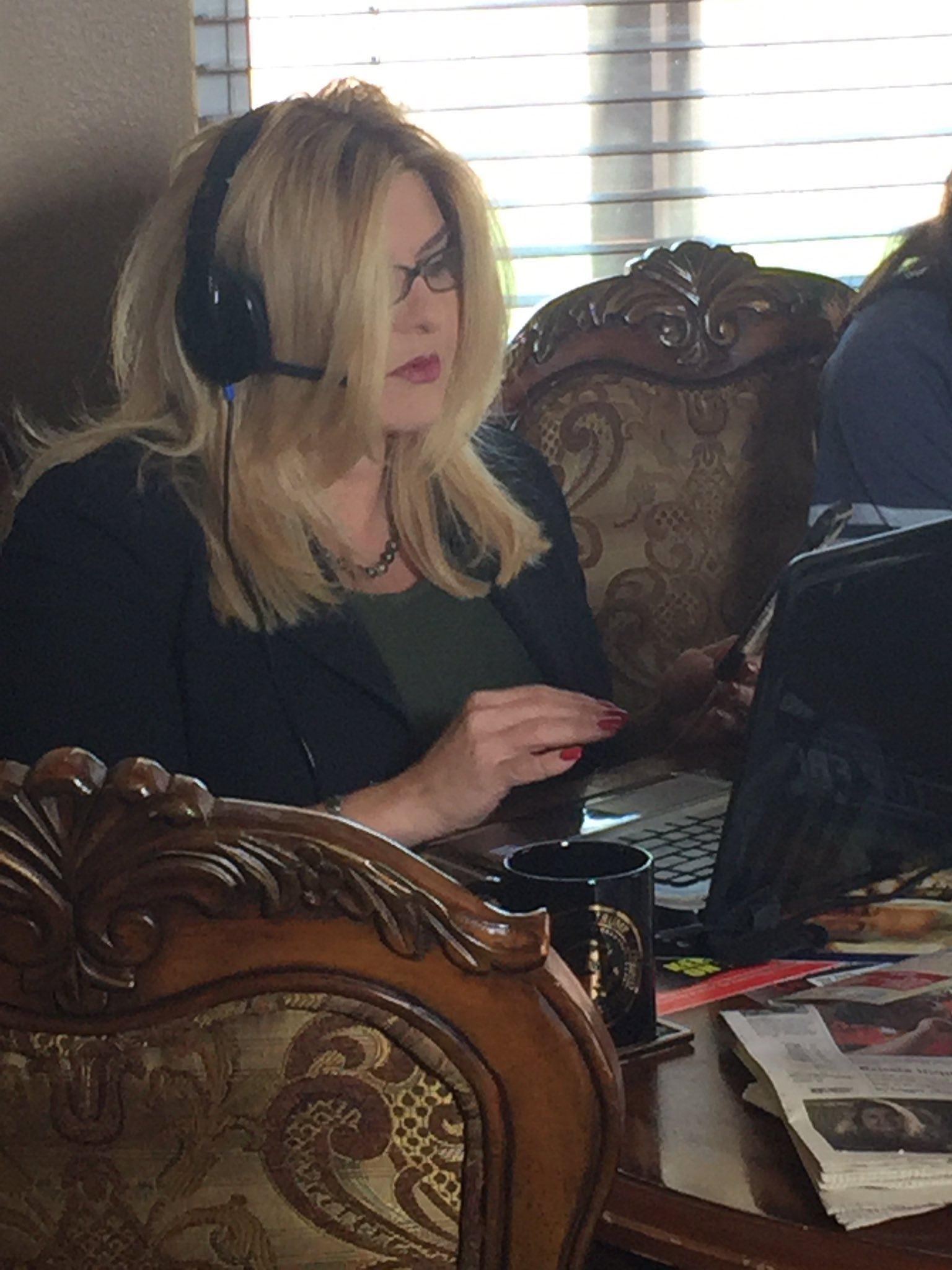 Michelle Fiore recording a robocall in the Ward Six race, the day before the election. (Jeff Gillan | KSNV)