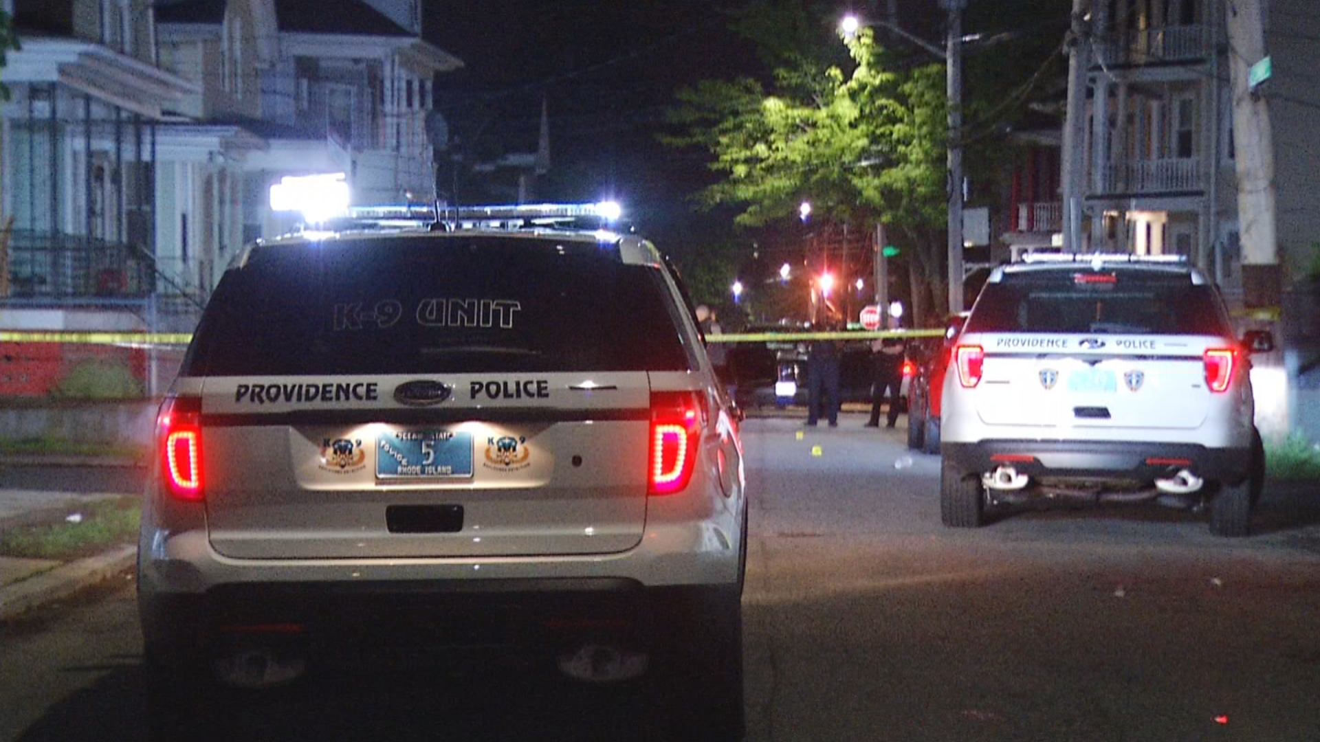 Providence police investigate a shooting scene at O'Connor and Porter streets, late Tuesday, May 22, 2018. (WJAR)
