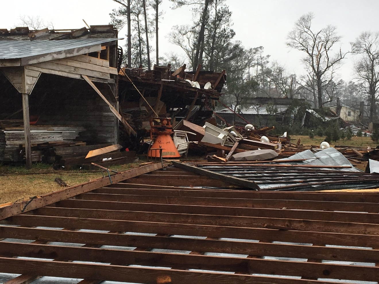 Damage after a strong storm moved through the area Wednesday afternoon. (WPDE)