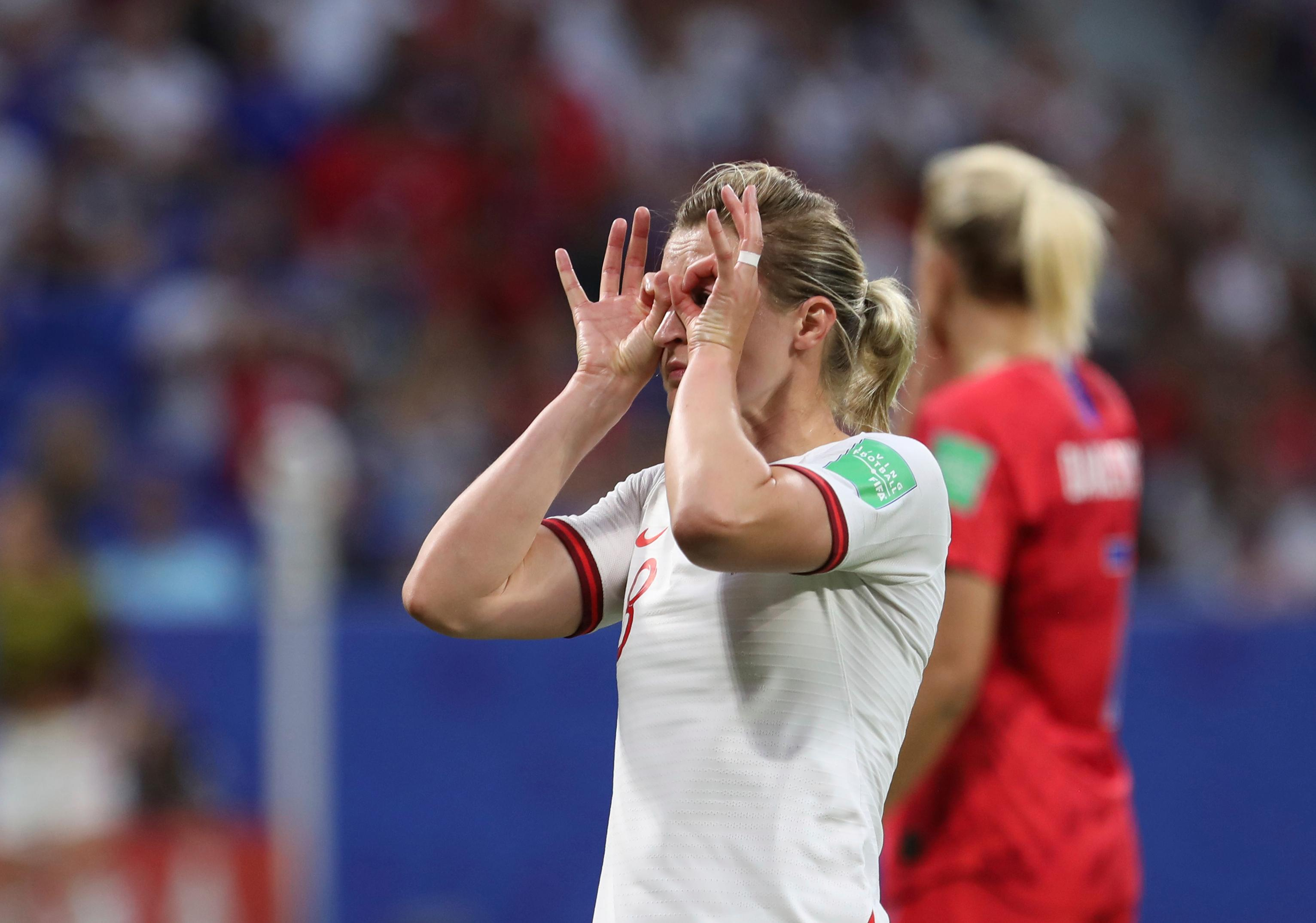 England's Ellen White celebrates after scoring the opening goal during the Women's World Cup semifinal soccer match between England and the United States, at the Stade de Lyon outside Lyon, France, Tuesday, July 2, 2019. (AP Photo/Laurent Cipriani)