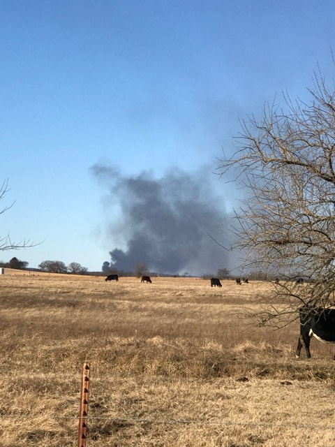 The Pittsburg County Sheriff's Office says a fire was reported near Quinton, Okla., Monday morning. Viewers say they heard and felt an explosion at the site of the rig. (Courtesy Nathan Johnson)