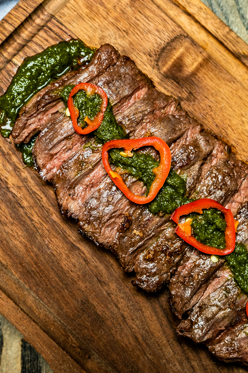 Allen Brothers Skirt Steak grilled in a chimichurri sauce / Image: Amy Elisabeth Spasoff // Published: 1.5.20