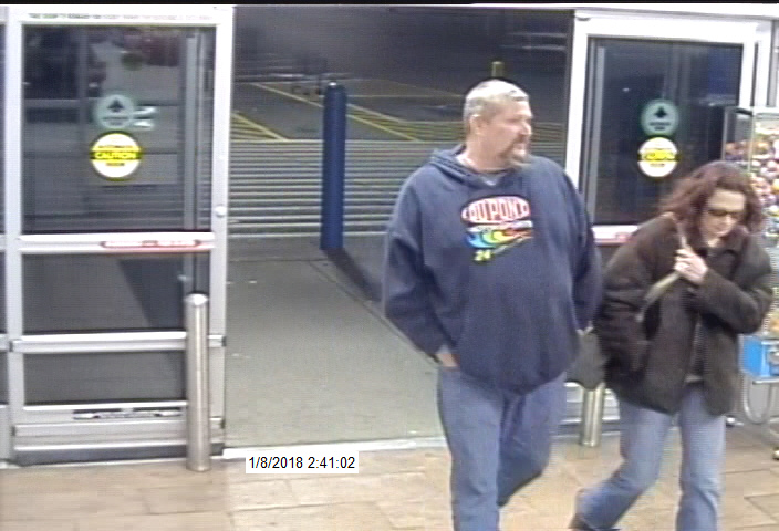 The sheriff's office said this is a photo of the two suspects entering the store (Campbell Co. Sheriff's Office)