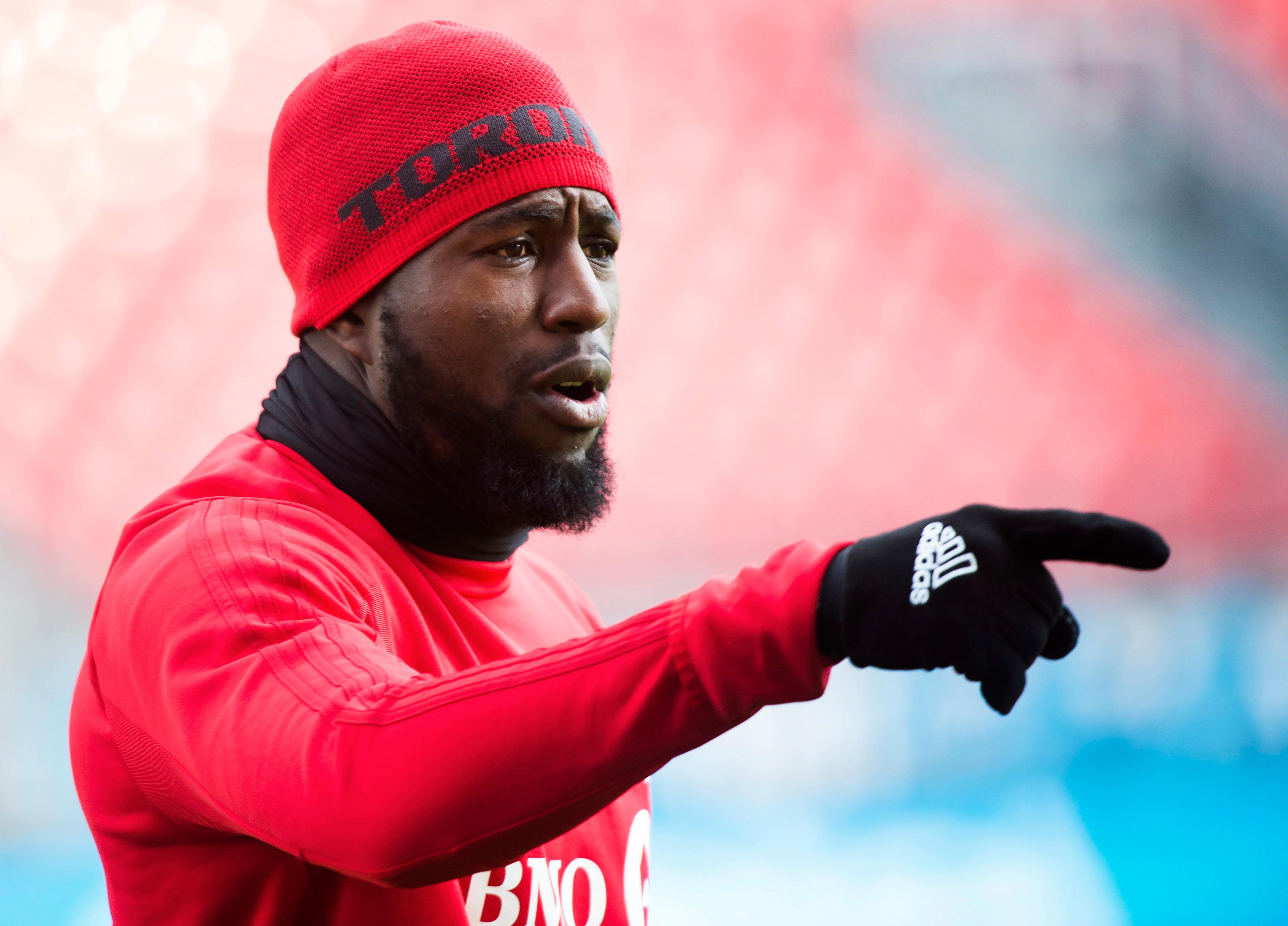 Toronto FC forward Jozy Altidore warms up during practice ahead of the MLS Cup soccer final against the Seattle Sounders, in Toronto, Friday, Dec. 8, 2017. (Nathan Denette/The Canadian Press via AP)