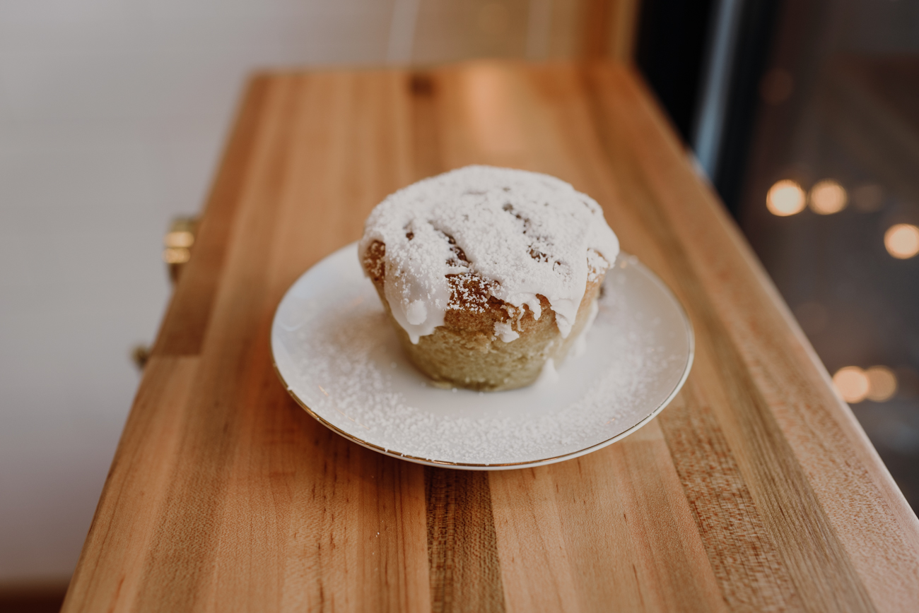 Zucchini muffins with powdered sugar / Image: Brianna Long // Published: 7.3.18