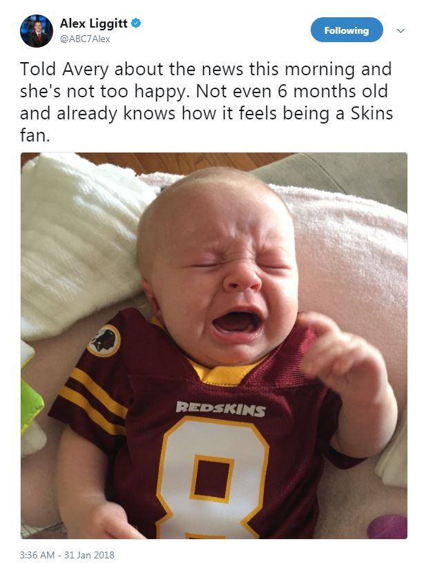 We feel bad for baby Avery, but better to learn at a young age that being a D.C. sports fan can be a hard and often disappointing journey! (Image: @ABC7Alex/twitter.com/ABC7Alex)