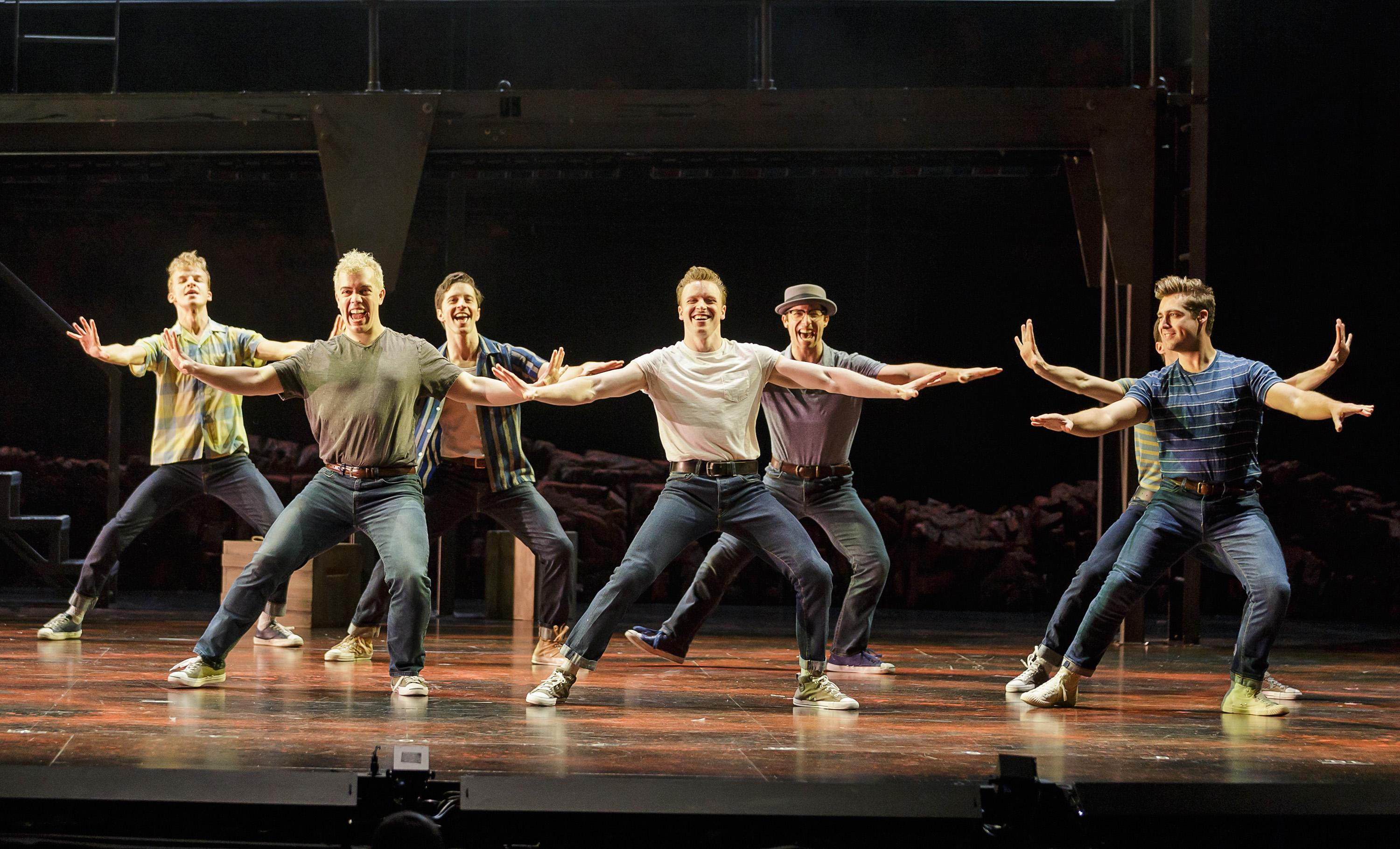 Dan_Lusardi (center) as Riff and the cast of West Side Story at The 5th Avenue Theatre (Photo Credit: Mark Kitaoka)