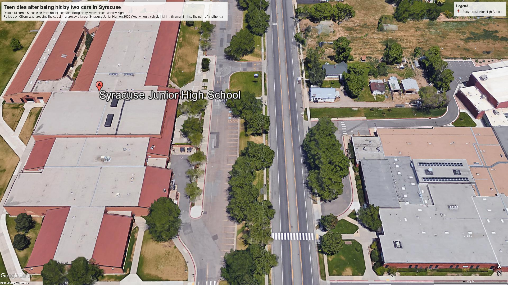 Teen boy hit by two cars in Syracuse dies. (Photo: Google Earth Pro)