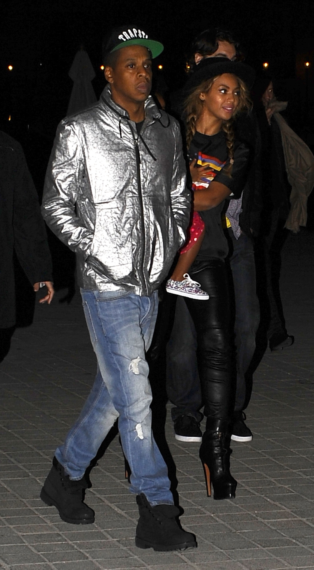 Jay Z and Beyonce with Blue leave the Louvre Museum in Paris on Oct. 7, 2014. (WENN.com)