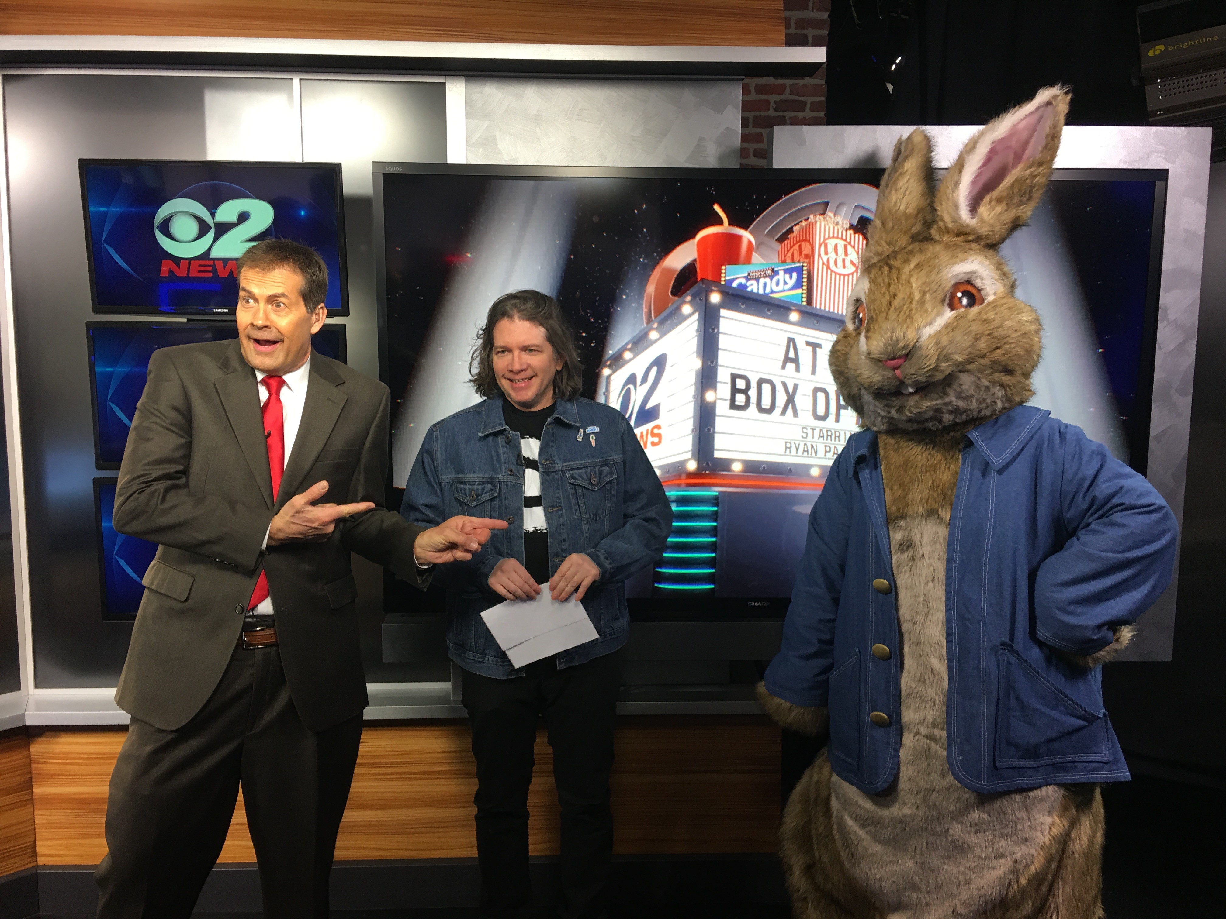 Peter Rabbit stopped by KUTV to visit with Ron Bird and Ryan Painter (Photo: Hannah Knowles for KUTV)