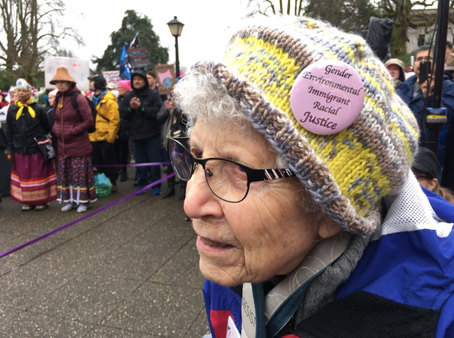 Women also rallied in Olympia on Saturday, Jan. 20, 2018. (Photo: KOMO News)<p></p>