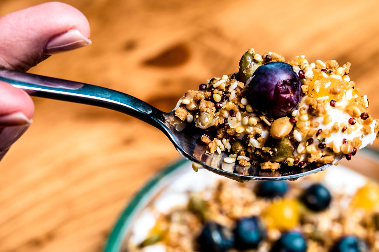Greek Yogurt with tahini, apricot puree, hemp seed granola, and blueberries. / Image: Amy Elisabeth Spasoff // Published: 2.6.18