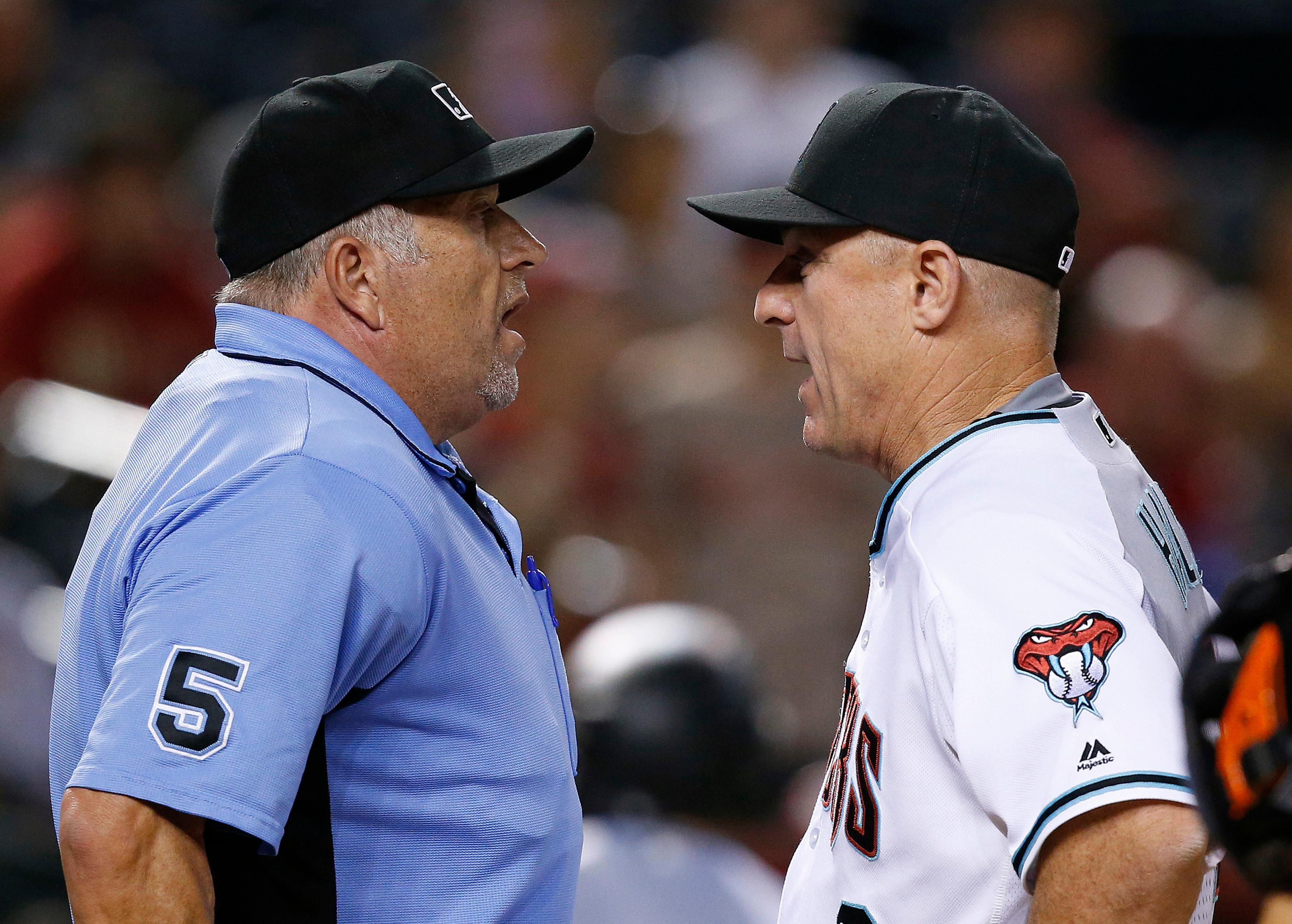 FILE - In this Sept. 10, 2016, file photo, Arizona Diamondbacks' Chip Hale, right, argues with umpire Dale Scott after Diamondbacks' Welington Castillo was thrown out of the game for arguing during the 12th inning of a baseball game against the San Francisco Giants in Phoenix. Rather than risk yet another concussion, Scott has decided to retire at 58. The veteran crew chief missed nearly the entire 2017 season after a foul ball off the bat of Baltimore slugger Mark Trumbo in Toronto on April 14, caught him hard in the mask, causing Scott's second concussion in nine months and fourth in five years. (AP Photo/Ross D. Franklin, File)