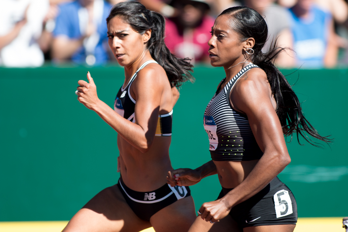 New Balance�s Brenda Martinez and Nike�s Chanelle Price battle with 200m left in the women�s 800m. Photo by Dillon Vibes