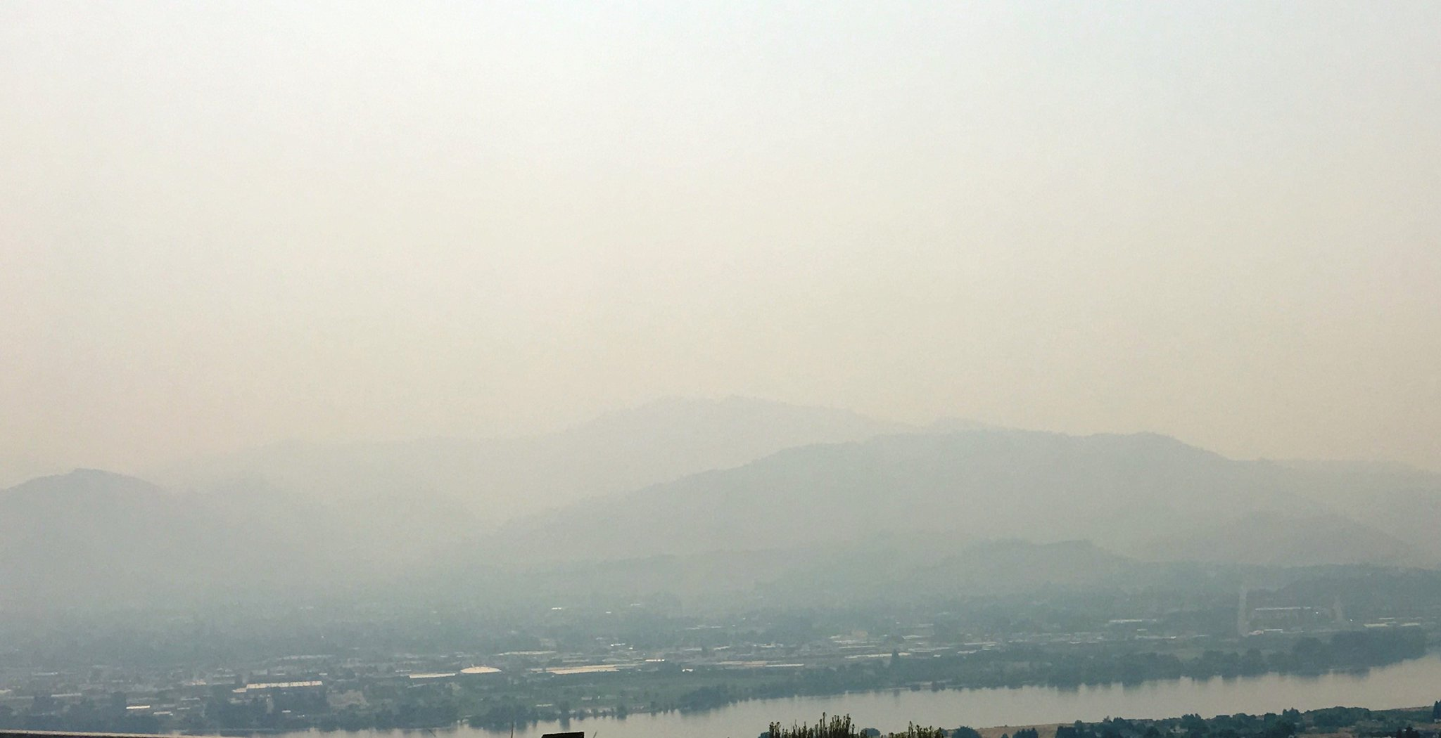 A smoky scene in Wenatchee (Photo: WSP Trooper Brian Moore)