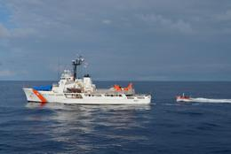 A Coast Guard Cutter Thetis small boat crew conducts personnel and contraband transfers with the Coast Guard Cutter Vigorous during a 68-day Eastern Pacific counter drug patrol in 2017. The cutter Thetis crew worked alongside the Pacific Tactical Law Enforcement Team, an aviation detachment from the Helicopter Interdiction Tactical Squadron and a Royal Canadian Navy maritime coastal defense vessel in support of Operation Martillo seizing 6,755 kilograms of cocaine and 14 pounds of marijuana during eight separate interdictions that resulted in the apprehension of 24 suspected smugglers. (Coast Guard photo)