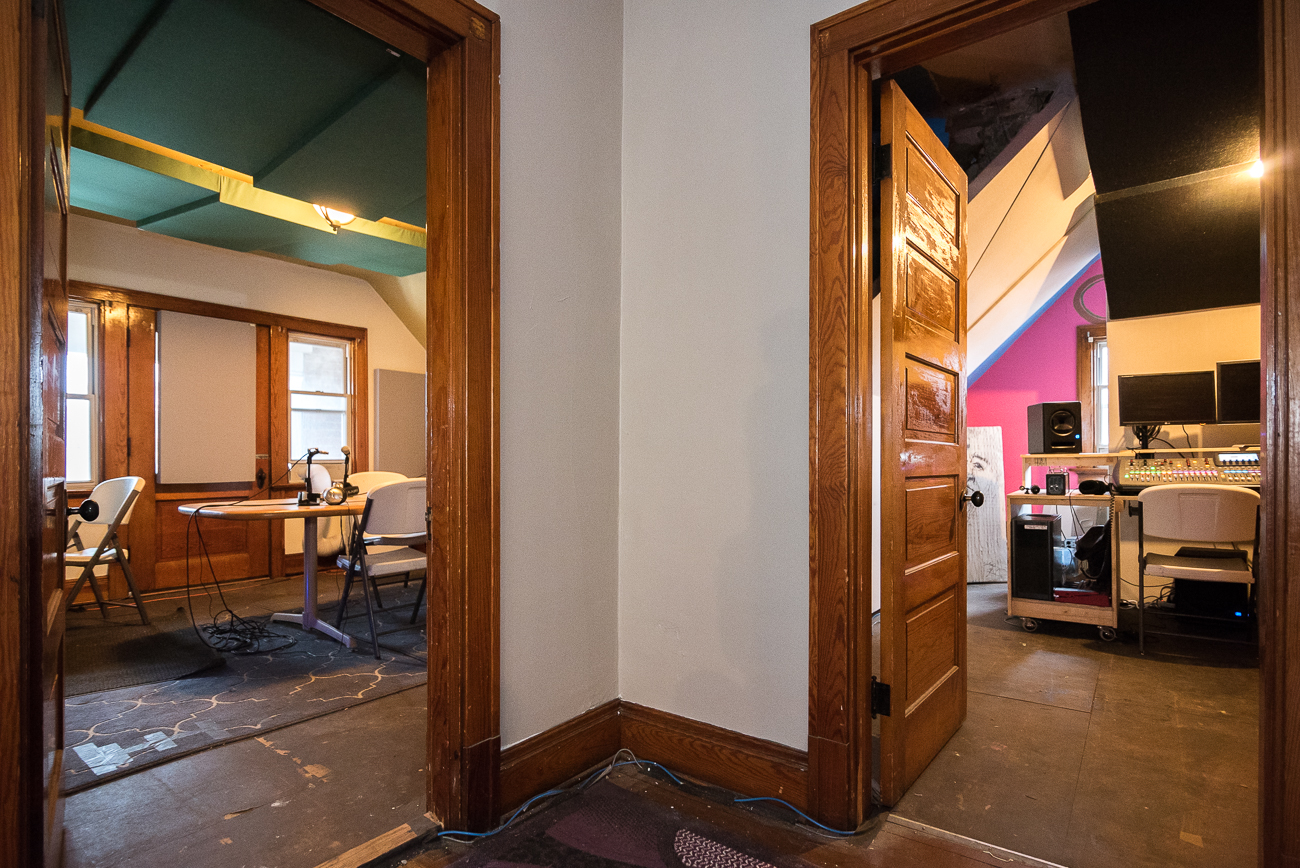 Radio Artifact fills two rooms at the moment: the Main Studio (left) where live shows are done, and the Mix Down Room (right) where raw audio from the live music shows in the brewery's taproom is edited in post-production. / Image: Phil Armstrong, Cincinnati Refined // Published: 1.15.18<p></p>