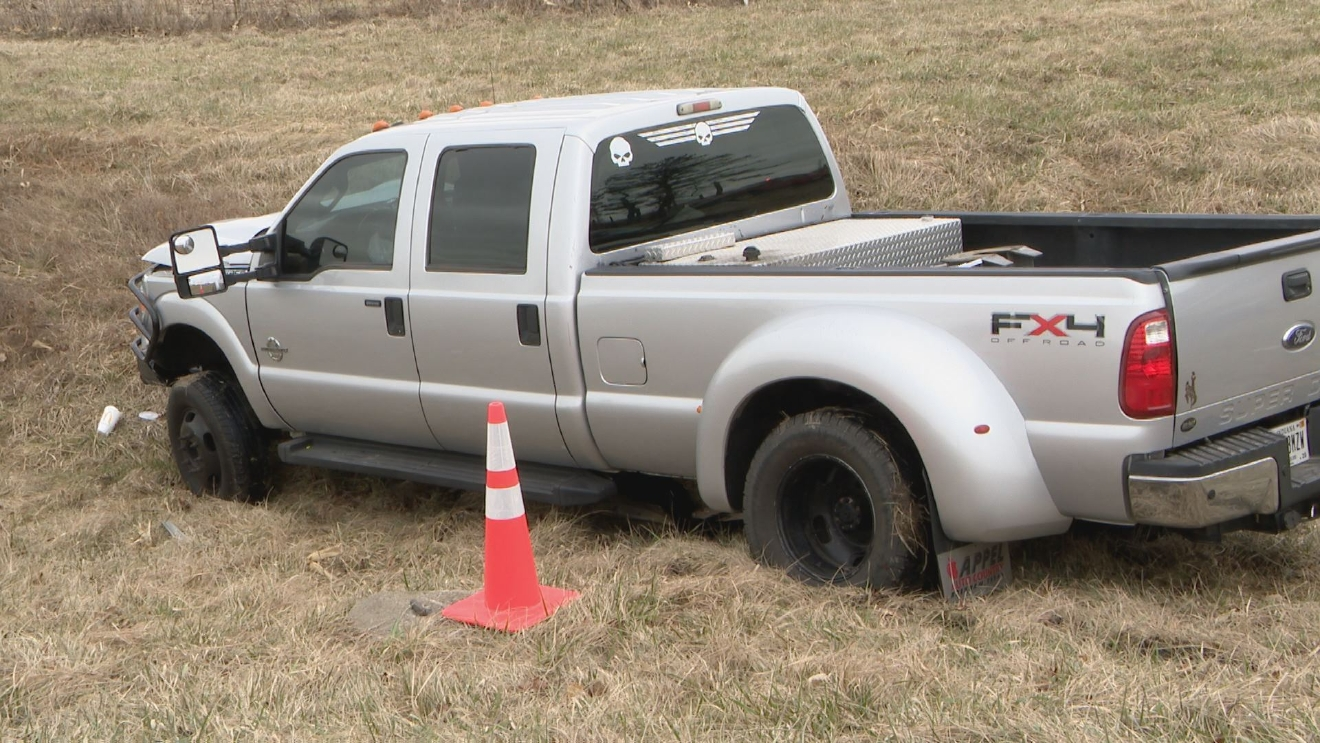 A crash on the Marhsall-Fulton county line took the life of a toddler when the car he was riding in crashed with this pickup truck. // WSBT 22 photo