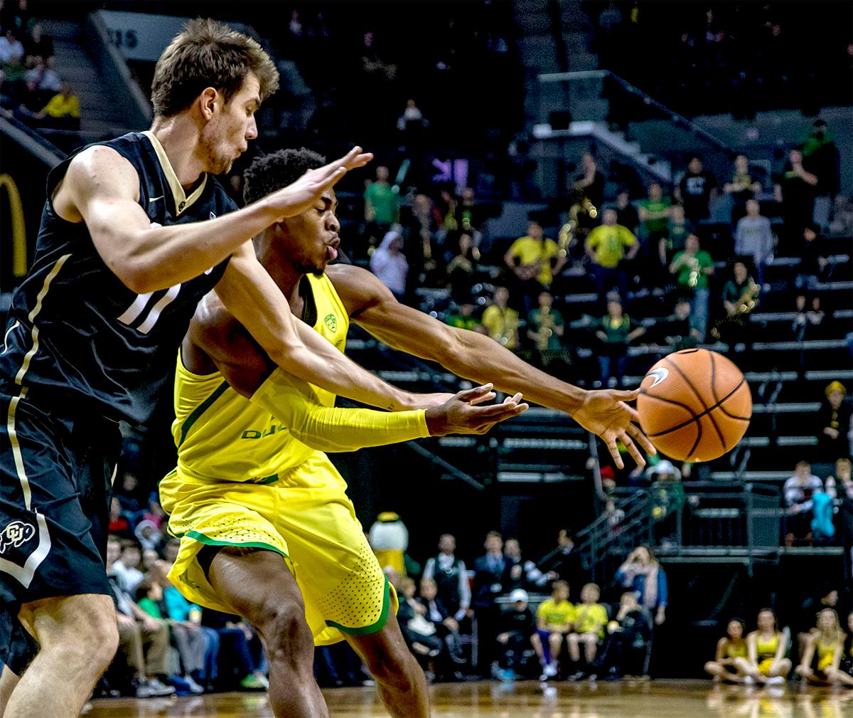 The Duck's Victor Bailey Jr. (#10) tosses the ball aside to a teammate. The Oregon Ducks defeated the Colorado Buffaloes 77-62 at Matthew Knight Arena on Sunday. Troy Brown had a season-high score of 21 points, Elijah Brown added 17, while Kenny Wooten and Payton Pritchard added 13 and 12 respectively. Oregon is now 1-1 in conference play. The Ducks next face off against the Oregon State Beavers in Corvallis on Friday, January 5th. Photo by August Frank, Oregon News Lab