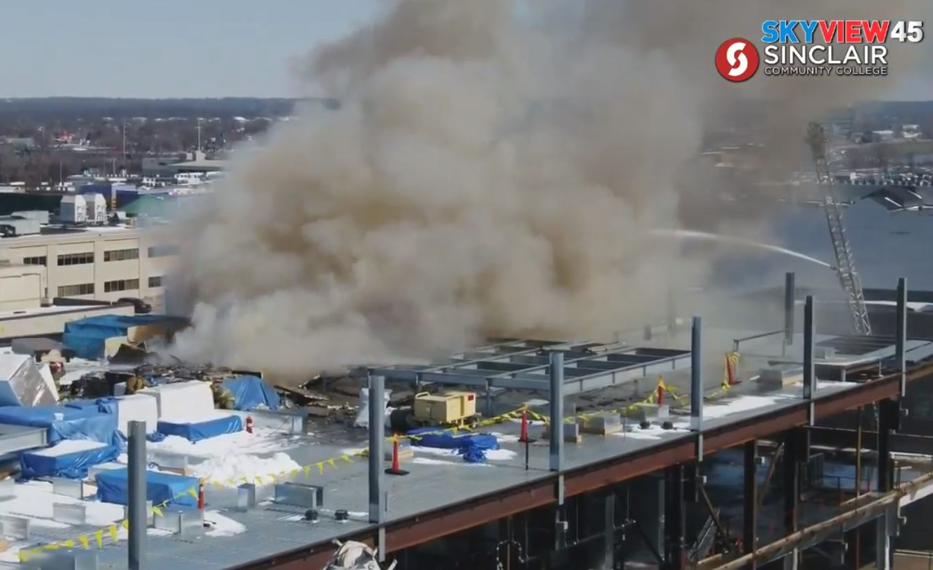 Caresource building under construction in downtown Dayton on fire (SkyView 45)