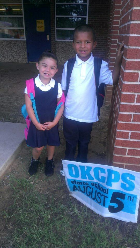 FOX 25 Facebook fan Ashley Martin sent us this picture of her kids heading back to school at MWC Telstar elementary!