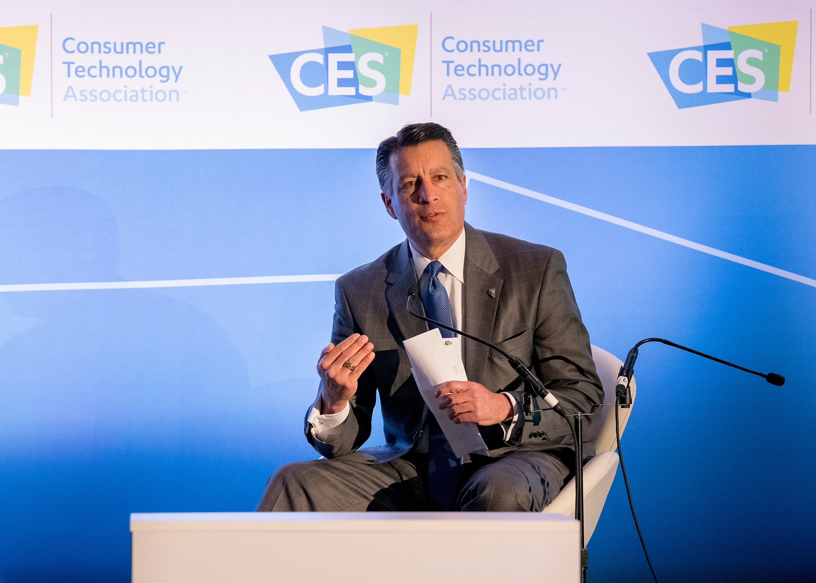 "Nevada Governor Brian Sandoval speaks during a panel discussion, ""How States Can Become Innovation Leaders,"" during CES at the Las Vegas Convention Center on Thursday, Jan. 11, 2018. CREDIT: Mark Damon/Las Vegas News Bureau"
