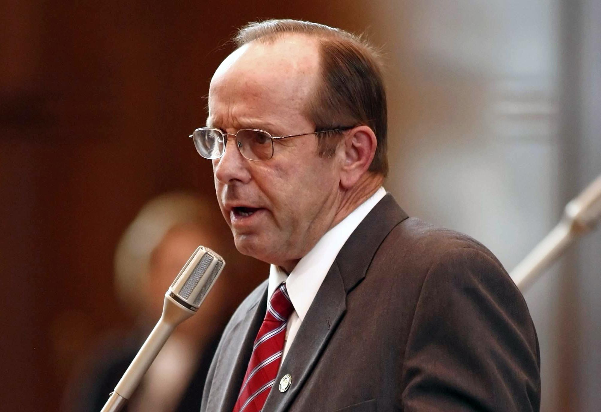 FILE- In this Feb. 14, 2012, file photo, Sen. Jeff Kruse, R-Roseburg, speaks at the Capitol in Salem, Ore. Democratic Sen. Sara Gesler, who accused Kruse of inappropriate touching, said Monday, Oct. 23, 2017, that she heard accounts from other women in the Oregon State Capitol of such behavior by men. Kruse, whose committee assignments were removed last week as a punishment, says he hasn't been informed what he's accused of, and that he's been denied due process. (Timothy J. Gonzalez/Statesman-Journal via AP, File)
