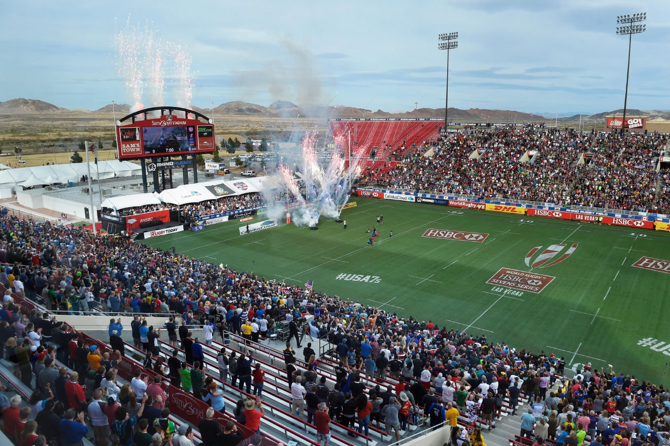 Fireworks kick of the USA vs. England match during the USA Sevens rugby tournament Saturday, March 4, 2017, at Sam Boyd Stadium. [Sam Morris/Las Vegas News Bureau]
