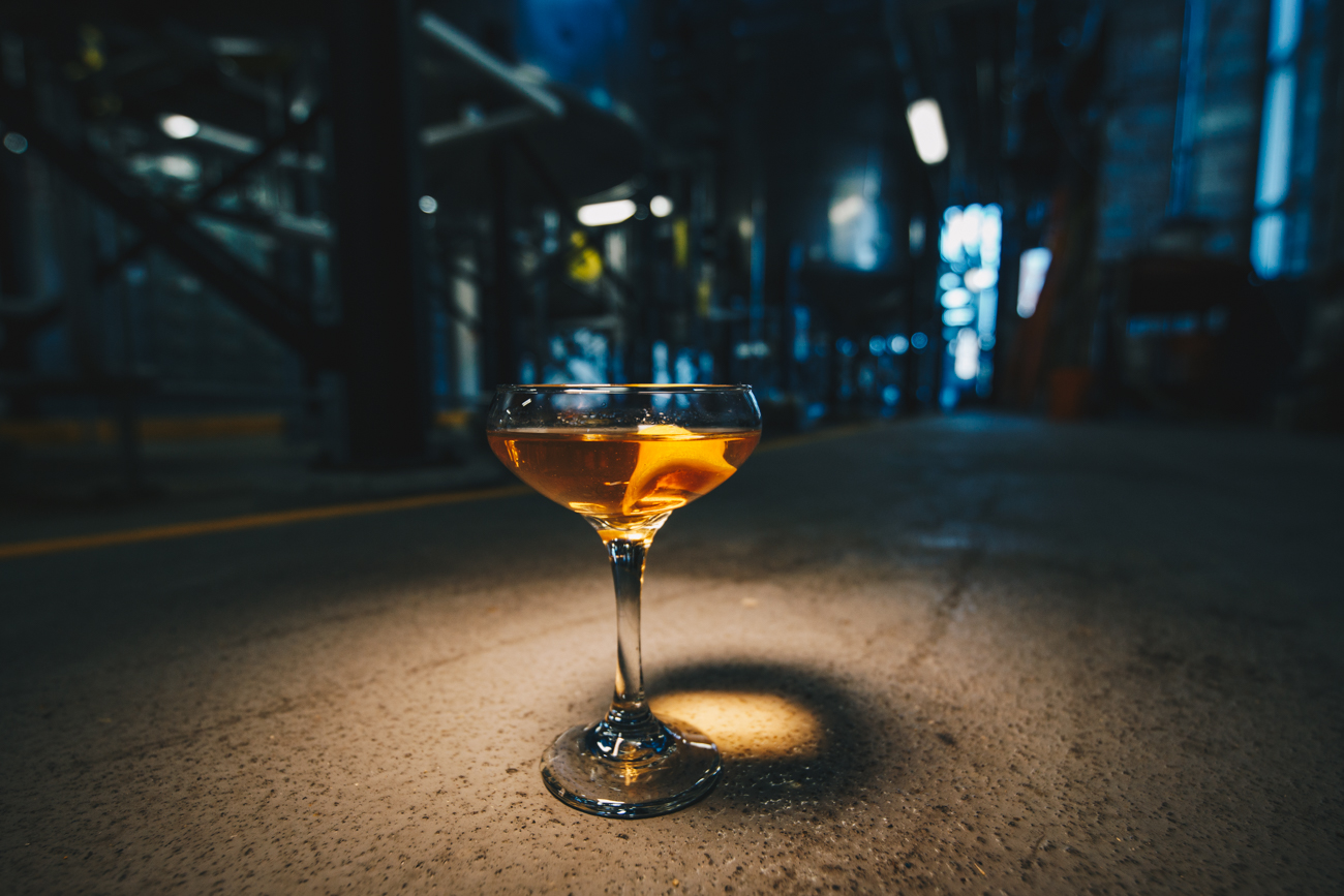 House of the Rising Sun: New Riff Rye, Absinthe wash, Peychaud's bitters, lemon tarragon simple syrup, and garnished with a torched lemon disc / Image: Catherine Viox // Published: 3.25.19