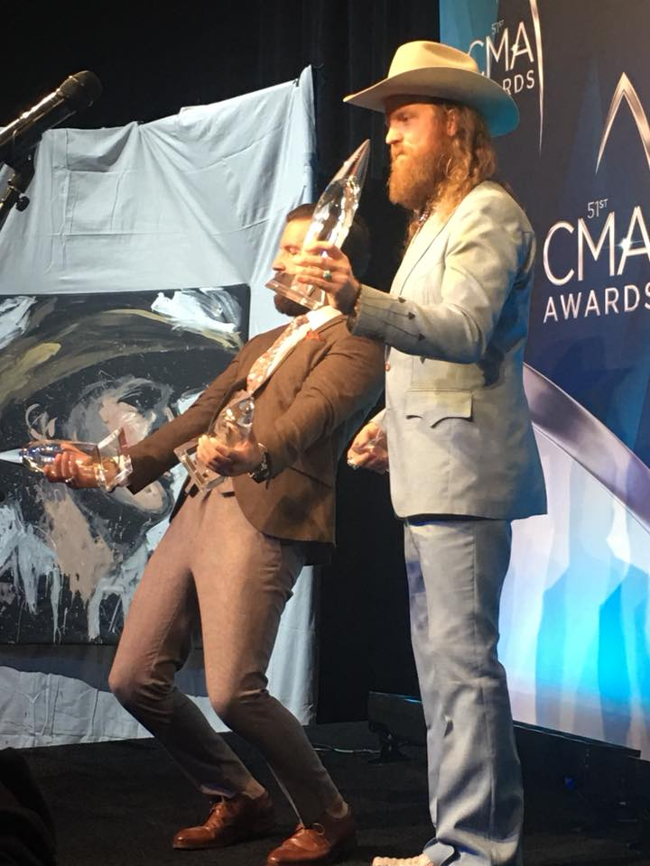 Brothers Osborne celebrate after their second CMA win of the night. (Fox 17 News)<p></p>