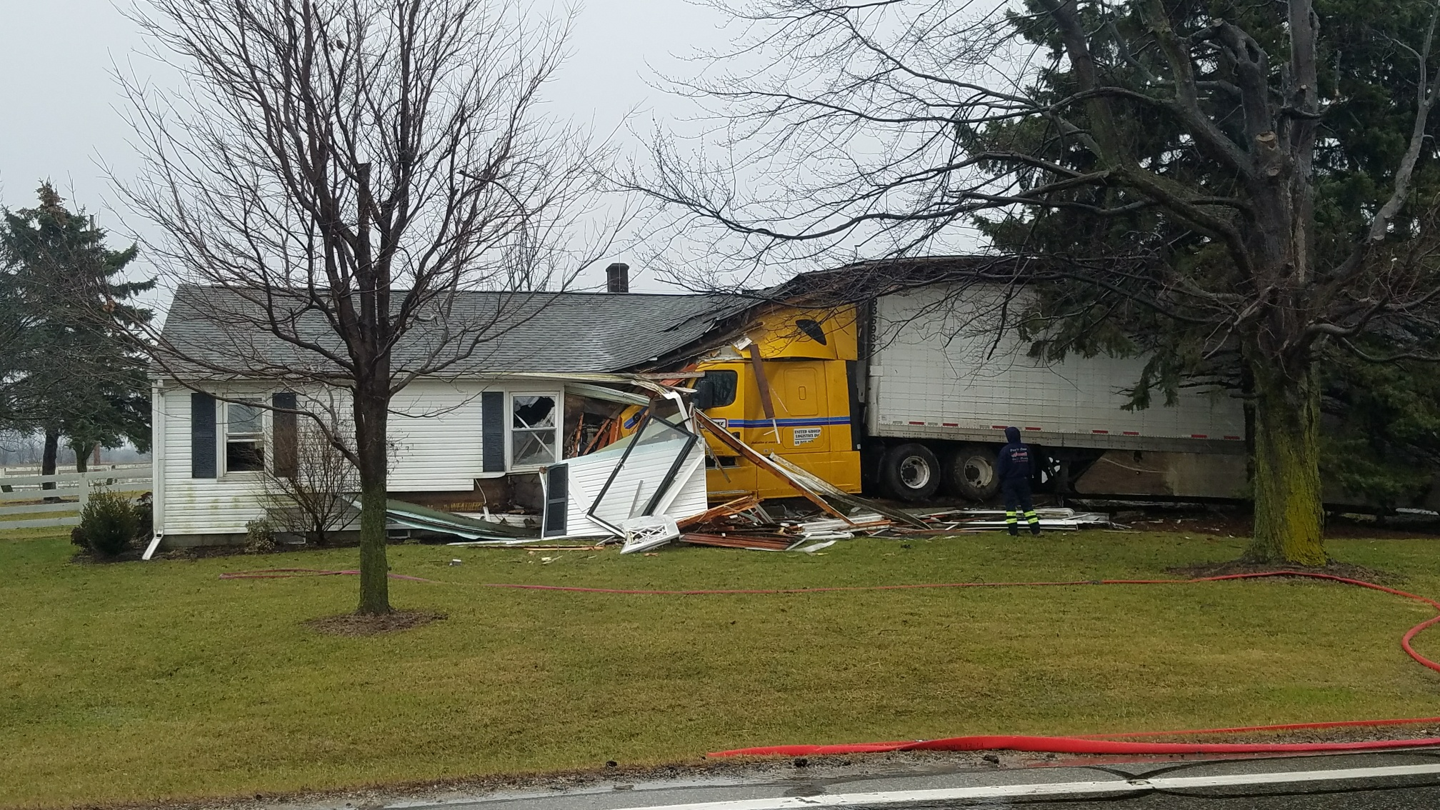 A semi crashed into a Union County home early Thursday morning February 22, 2018. (WSYX/WTTE)