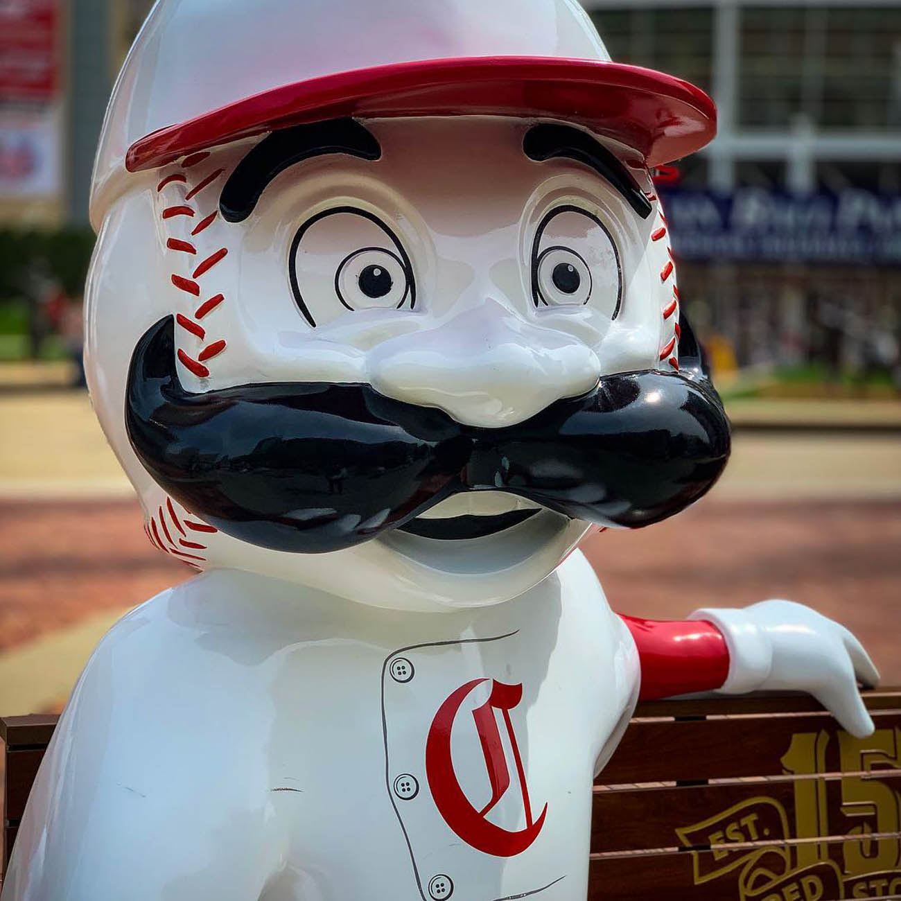 To celebrate the Reds' 150th Anniversary, 24 benches featuring Mr. Redlegs sculptures have been added to various spots around the area, as well as out of town locations including Dayton, Loveland, and Louisville, for the perfect Reds photo op. The mascot sports different uniforms from throughout the team's history at each of the benches. The Reds have been wearing these same throwback uniforms during their 2019 season. / Location: Great American Ballpark / Uniform: 1869 / Image courtesy of Instagram user @cmykdesigner    // Published: 5.14.19{ }