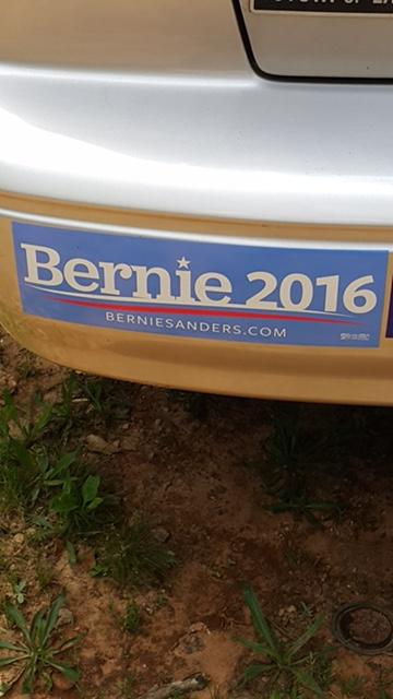Sanders sticker on woman's car who was refused a tow for being a Sanders supporter  (Photo credit: Cassy McWade)