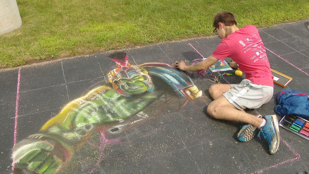 Chalk used to create intricate designs in Green Bay