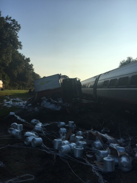 A tractor trailer crashed into an Amtrak train Friday morning on Highway 1 in the Patrick community of Chesterfield County, according to Chesterfield County Sheriff Jay Brooks. (Viewer submitted)