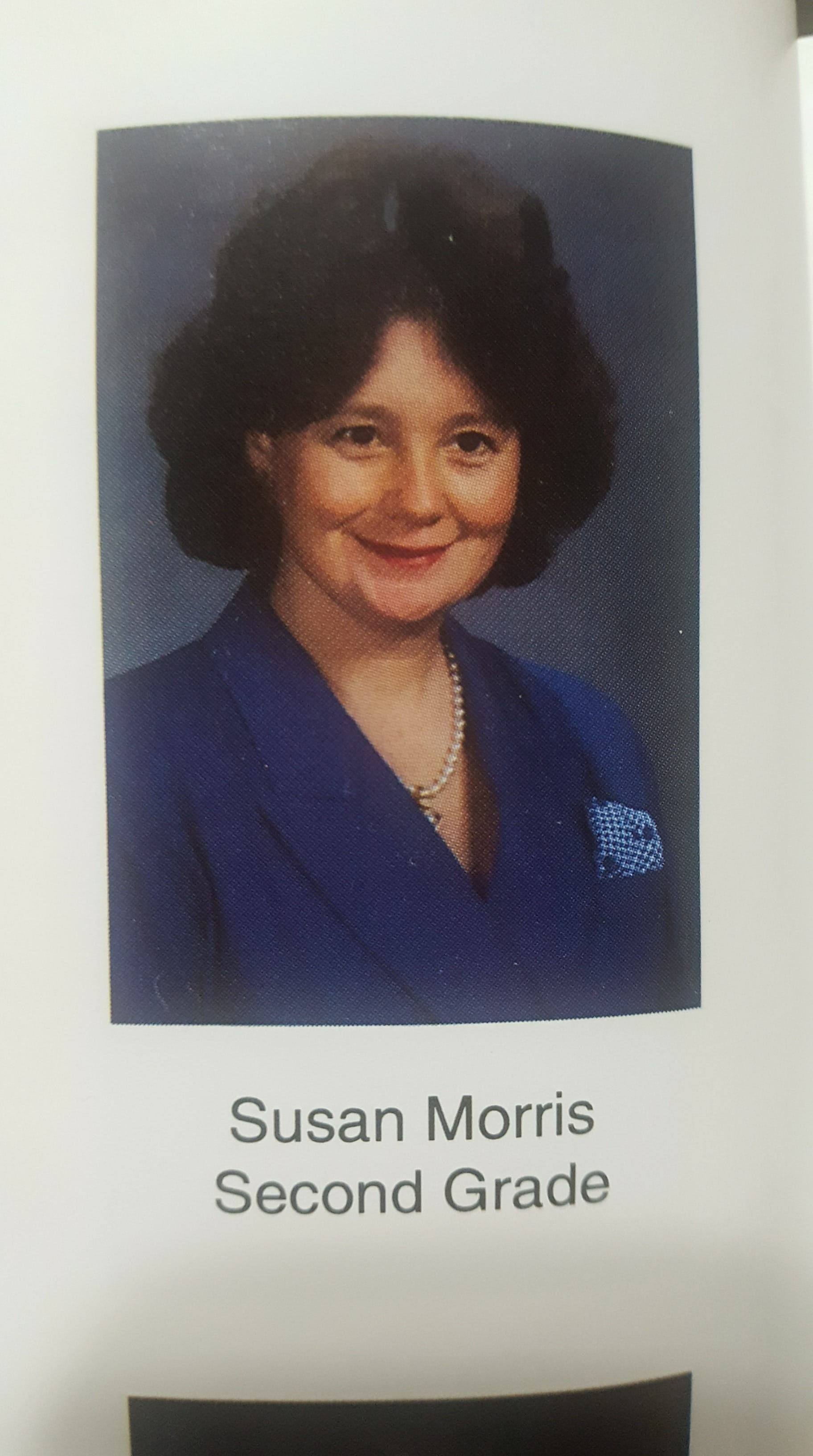 This picture of Susan Morris was used in the 1992-1995 Graysville Elementary yearbooks, during which time she taught 2nd Grade. (Image courtesy Bethany Garabedian)<p></p>