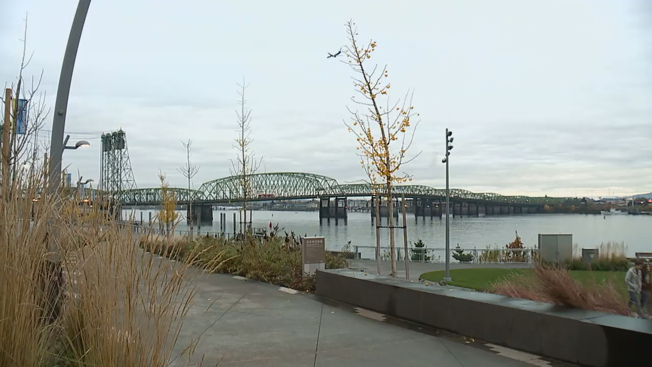 View of the Interstate Bridge from Vancouver - KATU photo
