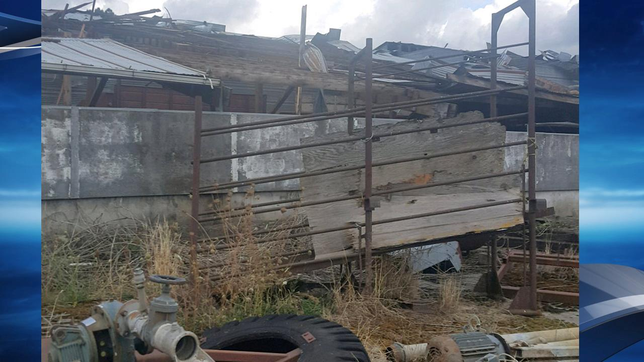 KATU viewer Pat Hulburt took this photo of a barn damaged during a weather event Tuesday, Sept. 19, 2017 in Lacomb, Oregon, which is northeast of Lebanon.