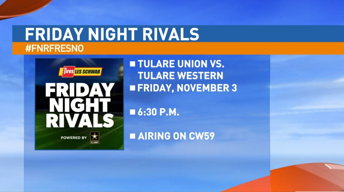 Our next matchup features the 9-0 Tulare Union Tribe taking on the 9-0 Tulare Western Mustangs at the special time of 6:30 p.m. at Bob Mathias Stadium.