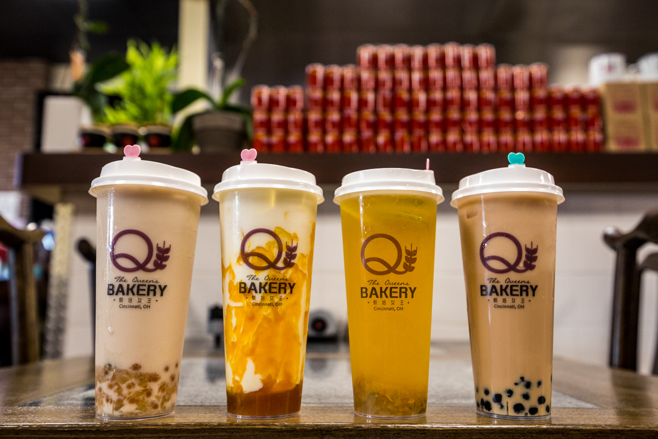 Peach popping milk tea, mango milk, peach tea, and The Queens Bakery original bubble tea / Image: Catherine Viox{ }// Published: 8.26.19