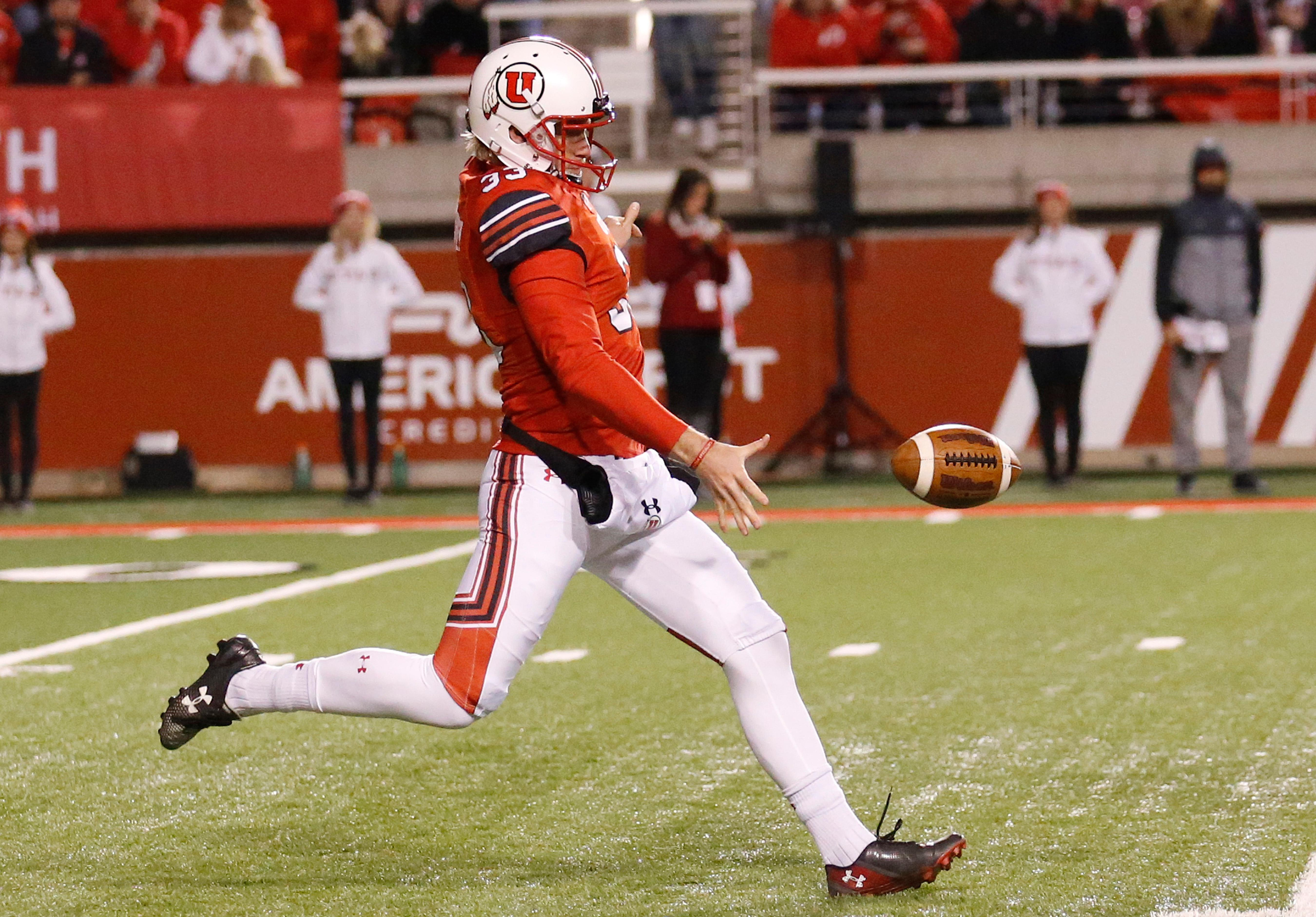 FILE - In this Nov. 11, 2017, photo, Utah's Mitch Wishnowsky punts in the second half during an NCAA college football game against Washington State, in Salt Lake City. Wishnowsky was selected to the AP All-Conference Pac-12 team announced Thursday, Dec. 7, 2017.  (AP Photo/Rick Bowmer, File)