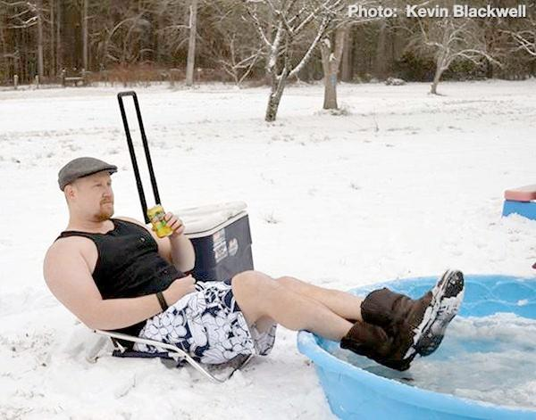 A Hokes Bluff man enjoys a lemonade during the winter storm, Tuesday, January 28, 2014.