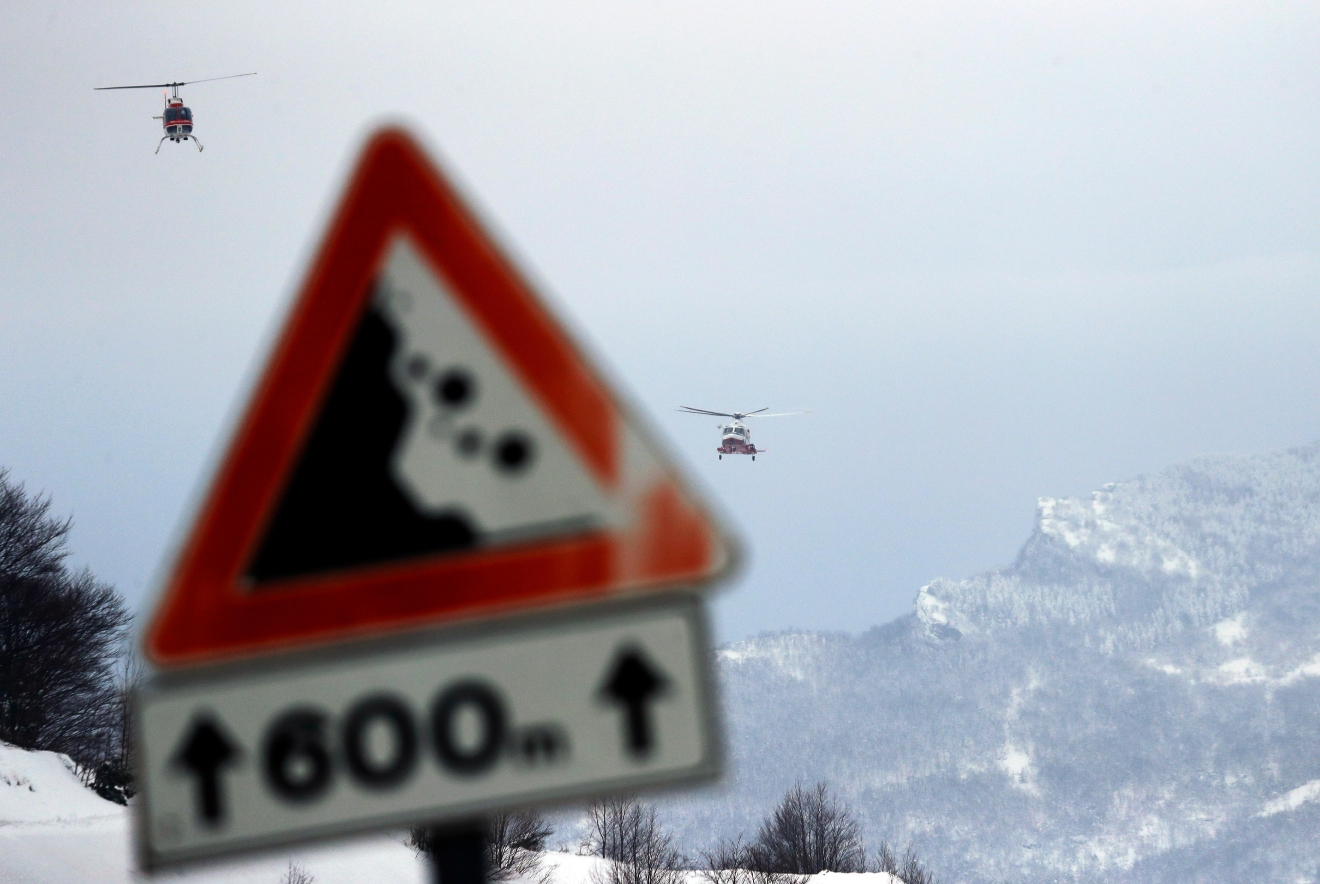 Rigopiano hotel avalanche first funerals as search goes on bbc news - Rescue Helicopters Approach The Area In Rigopiano Central Italy Where A Hotel Has Been