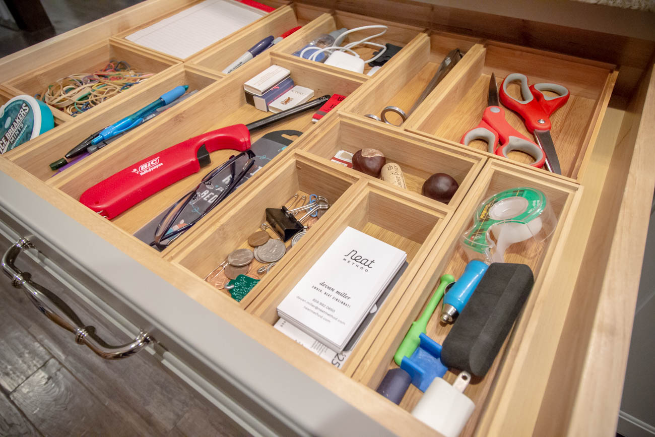 Devan emphasizes that this is a utility drawer, NOT a junk drawer.{ }/ Image: Katie Robinson, Cincinnati Refined // Published: 1.11.20